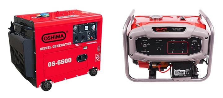 Máy phát điện chạy dầu 5kw Oshima và máy phát điện chạy xăng 5kw Vinafarm.